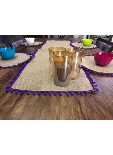 Giz Home Giz Home Ta57Mr E&C Jüt 4 Kişilik Ponponlu Kahve Runner Ve Supla Takımı Renkli